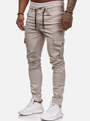 Picture of Men's Casual Pants Fashion Pocket Drawstring Trousers - Size: L