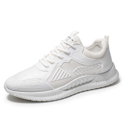 Picture of Men's Running Shoes Solid Color Low Top Lacing Breathable Sports Shoes - Size: 40