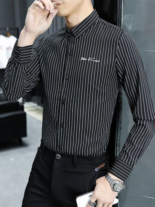 Picture of Men's Shirt Striped Letter Embroidery Slim Long Sleeve Top - Size: M