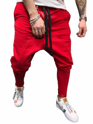 Picture of Men's Casual Pants Solid Color Drawstring Waist Ankle Tied Pants - Size: M