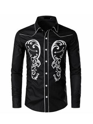 Picture of Men's Shirt Turn Down Collar Long Sleeve Embroidery Color Block Slim Top - Size: L