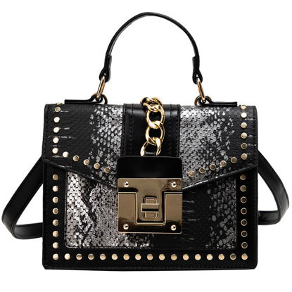 Picture of Women's Handbag Elegant Rivet Hasp Snakeskin Pattern Bag - Size: One Size