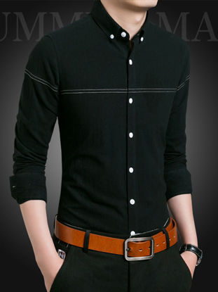 Picture of Men's Shirt Turn Down Collar Button Long Sleeve Top - Size: M