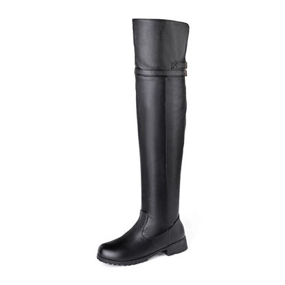 Picture of Women's Above Knee Boots Simple Round Toe Thick Heel Solid Color Boots - Size: 39