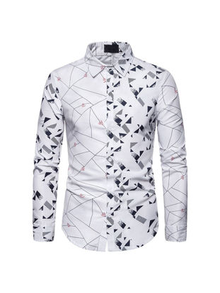 Picture of Men's Shirt Turn Down Collar Long Sleeve Geometric Top - Size: S