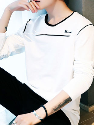Picture of Men's T Shirt O Neck Long Sleeve Print Top - Size: M