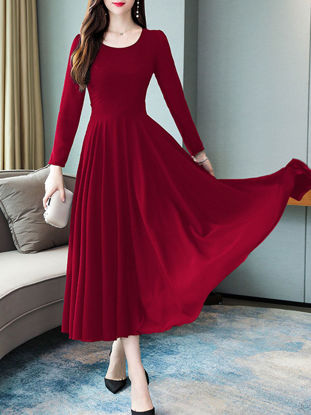 Picture of Women's Aline Dress O Neck Long Sleeve Dress - Size: L