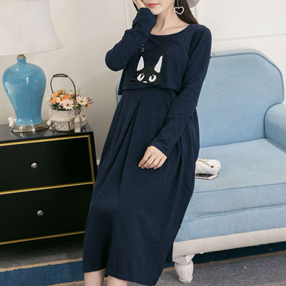 Picture of Pregnant Women's Straight Dress Cat Printed Breastfeeding Long Sleeve Dress - Size: XL