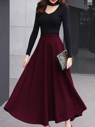 Picture of Women's Aline Skirt High Waist Fashion Solid Color Skirt - Size: XL