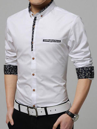 Picture of Men's Shirt Long Sleeve Solid Color Casual Shirt - Size: XL