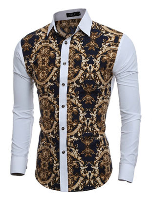Picture of Men's Shirt Patchwork Color Stylish Casual Retro Style Print Shirt - Size: XL