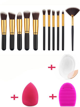 Picture of 11Pcs Makeup Brushes Set Professional Silicone Puff Brush Egg Combination