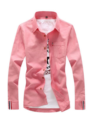 Picture of Men's Shirt Long Sleeve Cotton Blends Solid Color All Match Shirt - Size: XXL