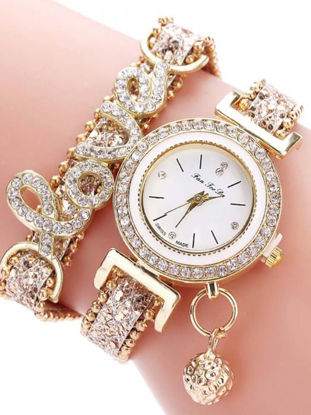 Picture of Women's Bracelet Watch Chic Rhinestone Inlay Double Layers Alloy Watch Accessory - Size: One Size