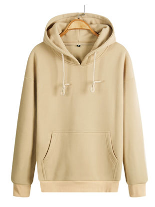 Picture of Men's Sweatshirts Solid Color Hoodies Drawstring  Pocket Long Sleeve All Match Pullovers - Size: M