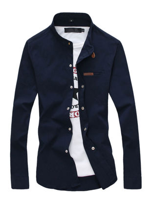 Picture of Men's Shirt Stand Collar Long Sleeve Solid Color Slim Plus Size Top - Size: XL