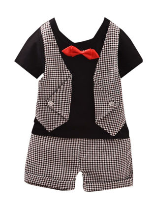 Picture of Baby's 2 Pcs Clothing Set Simple Short Sleeve Striped Top Shorts Suit - Size: 90cm