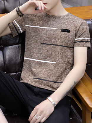 Picture of Men's T-Shirt Geometric Pattern Plus Size O Neck Classic Comfy Soft Stylish Top - Size: XL