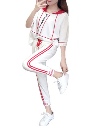 Picture of Women's 2Pcs Sports Suits Trendy Striped Half Sleeve Hooded Top Casual Pants Suit - Size: XL