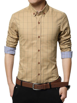 Picture of Men's Shirt Checkered Pattern Classic Fresh Style Turn Down Collar Shirt - Size: L