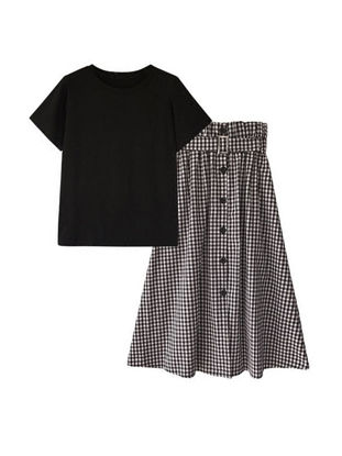 Picture of Women's Plus Size Two Pieces Set Short Sleeve O Neck T Shirt Checkered Maxi Long Skirt Set - Size: 4XL