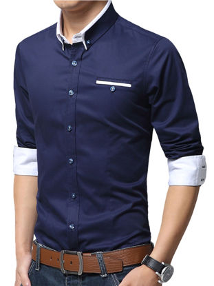 Picture of Men's Plus Size Shirt Turn Down Collar Long Sleeve Slim Fashion Top - Size: 3XL