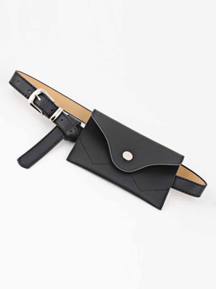 Picture of Women's Jeans Belt Creative Rectangle Waist Bag Design Solid Color Modern Fashion Belt Accessory - Size: One Size