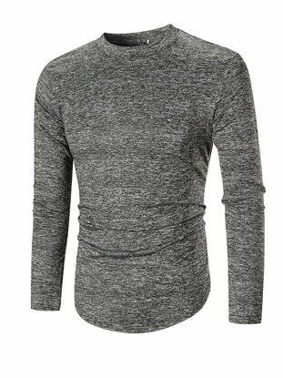 Picture of Men's T Shirt Solid Color O Neck Long Sleeve Top - Size: M