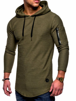 Picture of Men's Hoodie Long Sleeve Solid Color Zipper Decor Slim Hoodie - Size: M