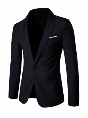 Picture of Men's Blazer Notched Collar Long Sleeve Solid Color Slim Blazer - Size: L