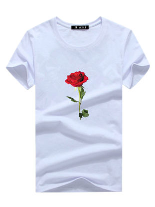 Picture of Men's T Shirt O Neck Short Sleeve Print Rose Slim Top - Size: XXL