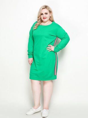Picture of Women's Shift Dress Striped Color Block Long Sleeve O Neck Casual Dress - Size: 7XL