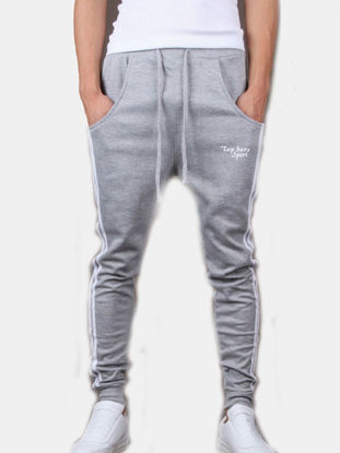 Picture of Men's Casual Pants Striped Pattern Drawstring Waist Ankle Tied Pants - Size: S