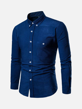Picture of Men's Shirt Fashion Casual Solid Color Top - Size: L