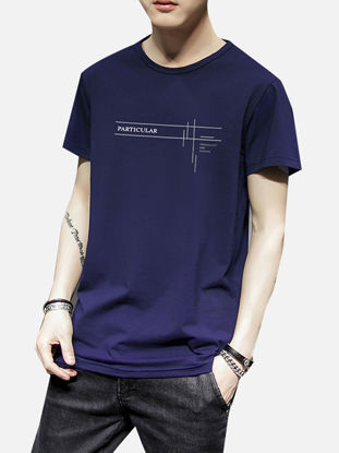 Picture of Men's T Shirt Short Sleeve Letter Print O Neck Top - Size: XXL
