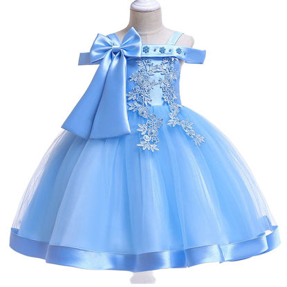 Picture of Girl's Full Dress Solid Color Jacquard Design Patchwork Aline Dress - Size: Reference Height:120cm