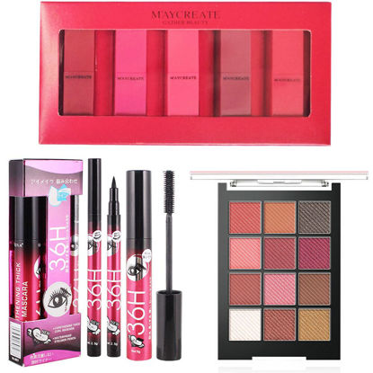 Picture of 8Pcs Makeup Set Five-piece Lipstick With Mascara and Eyeliner + 12-color Highlighter Eyeshadow