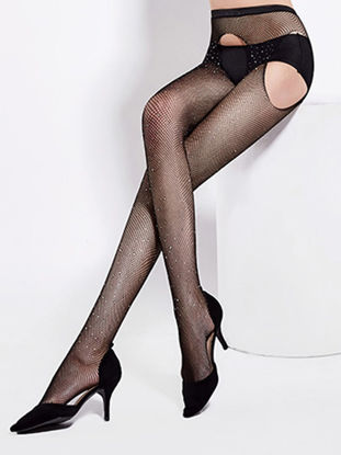 Picture of Women's Tights Ladylike Rhinestone See Through Sexy Stylish Thin Hosiery - Size: Free