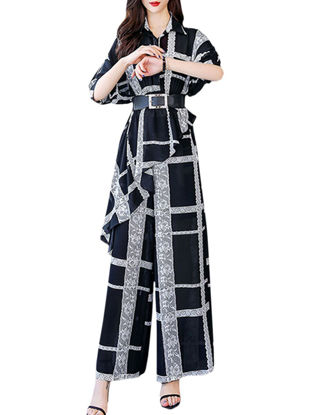 Picture of Women's 2Pcs Turn Down Collar Plaid Shirt Straight Wide Leg Pants - Size: S