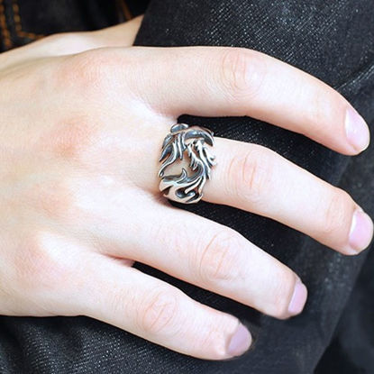 Picture of Men's Fashion Ring Vintage Hollow Out Pattern Design Punk Vintage Ring Accessory - Size: 10