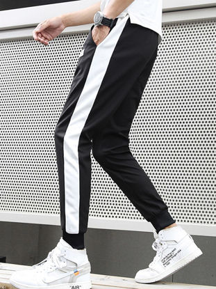 Picture of Men's Casual Pants Drawstring Waist Color Block Ankle-tied Pants - Size: 3XL