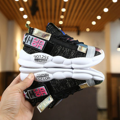 Picture of Kid's Sports Shoes Round Toe Color Block Fashion Shoes - Size: 28