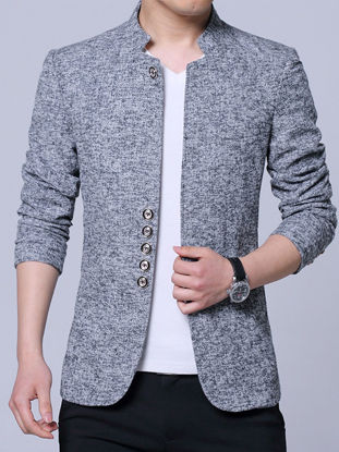 Picture of Men's Blazer Solid Color Long Sleeve Single Breasted Stand Collar Coat - Size: L