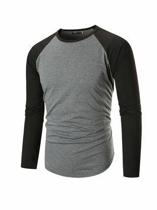 Picture of Men's T Shirt O Neck Long Sleeve Color Block Top - Size: 3XL