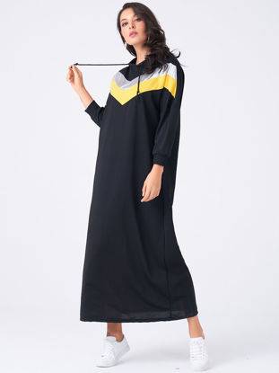 Picture of Women's Shift Dress Fashion Patchwork Loose Hooded Collar Long Sleeve Dress - Size: XXL