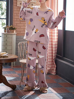 Picture of Women's Pajamas Set Plus Size Fruits Pattern Flare Sleeve Sweet Home Pants Set - Size: 4XL