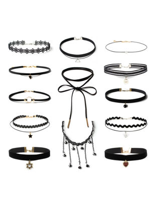Picture of Women's 13 Pcs Chokers Different Styles Chic Simple Basic Fashion Accessory - Size:One Size