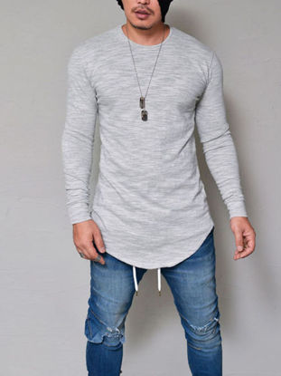 Picture of Men's T Shirt Long Sleeve Stylish Hem Solid Color Comfy Pullover - Size:L