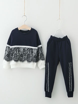 Picture of Toddler Girls Girl's Pants Set 2 Pcs Lace Patchwork Long Sleeve Sweatshirt Kids Clothes - Size:Reference Height:140cm