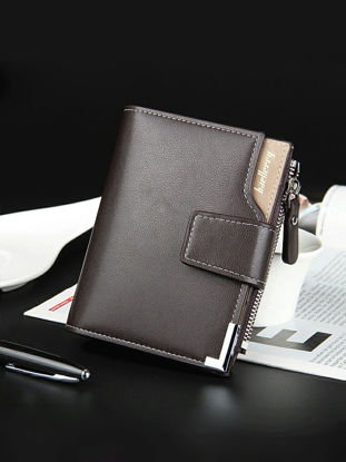 Picture of Aumret Men's Purse Casual Stylish Vertical Muti Function Zipper Wallet - Size:One Size